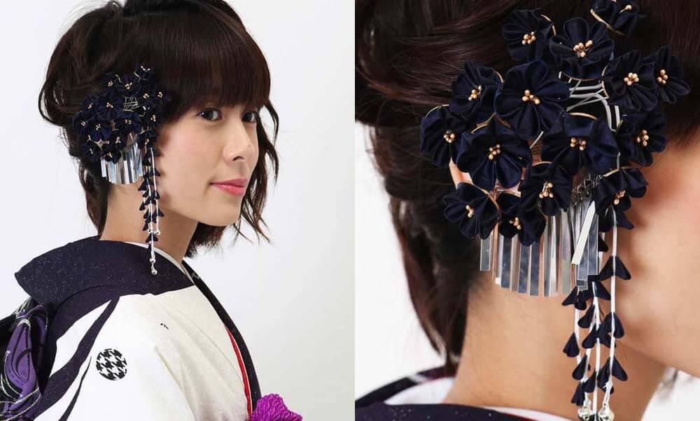 おすすめ髪飾りレンタル | Conomi 藍色のつまみ簪 髪飾り | 濃紺 小花 つまみ細工 ペップ金