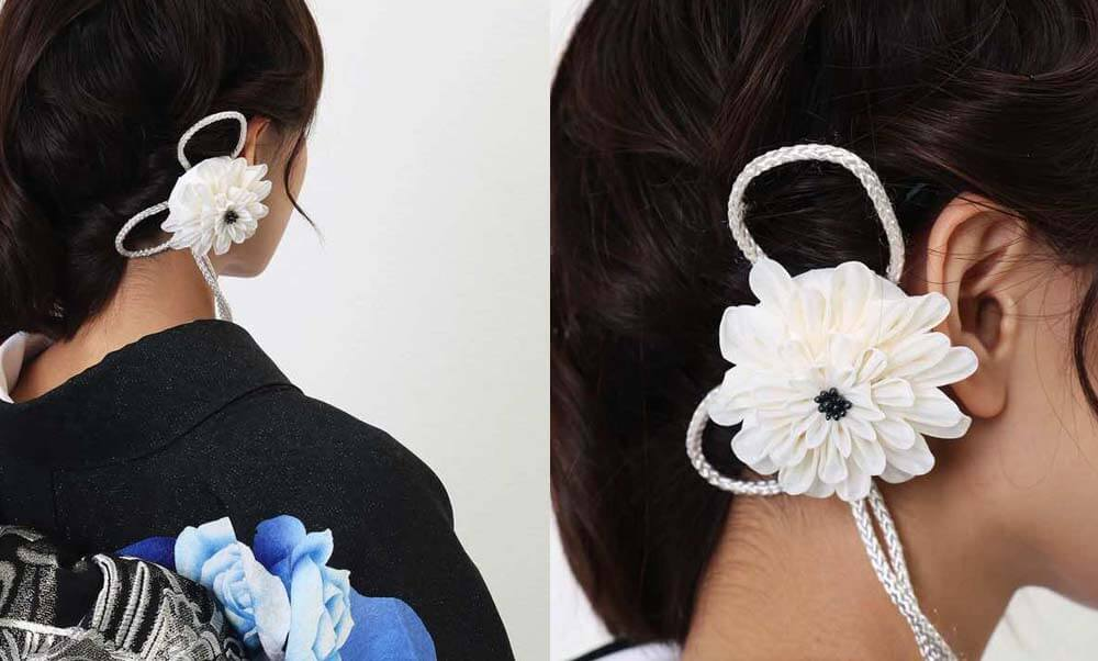 おすすめ髪飾りレンタル | Conomi 藍色のつまみ簪 髪飾り | シルク コーム つまみ細工