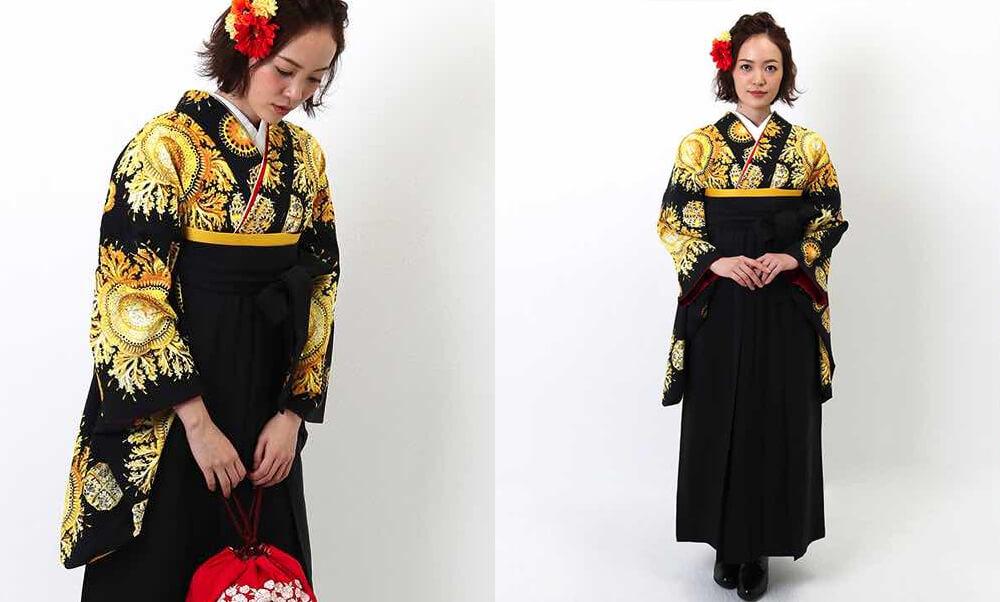 卒業式袴レンタル | エッジーなスタイル 卒業式袴 | ゴールドヴィンテージ