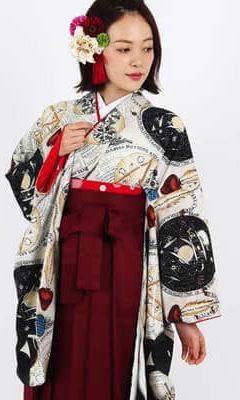 卒業式袴レンタル | エッジーなスタイル 卒業式袴 | 錬金術ホワイト