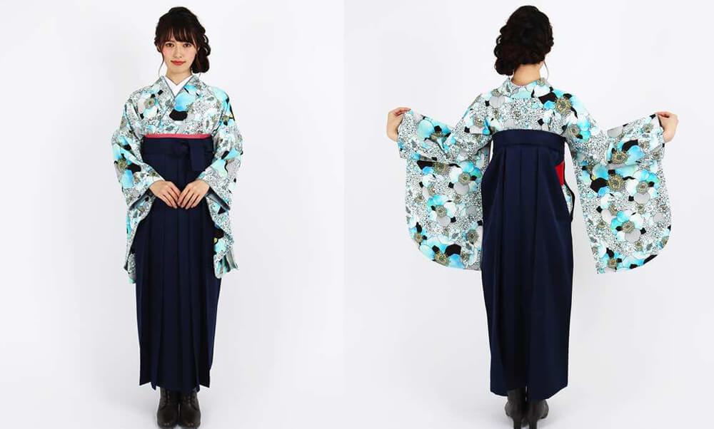 おすすめ卒業式袴レンタル | 【HAO】幸せの香り 青 花々とモダンなデザイン