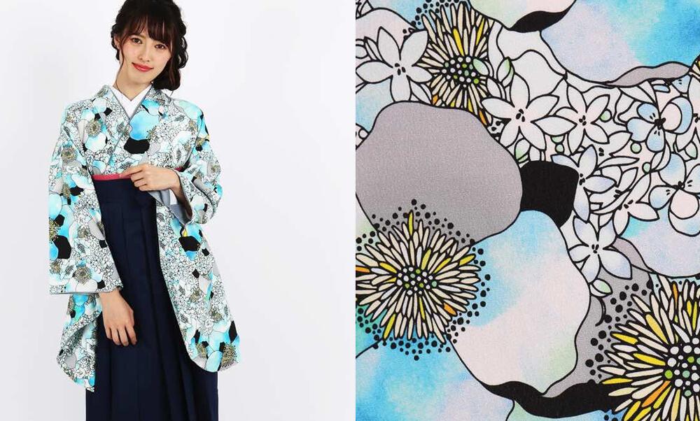 おすすめ卒業式袴レンタル | 【HAO】幸せの香り 青 青に黒のモダンなデザインとアネモネやジャスミンの薫り