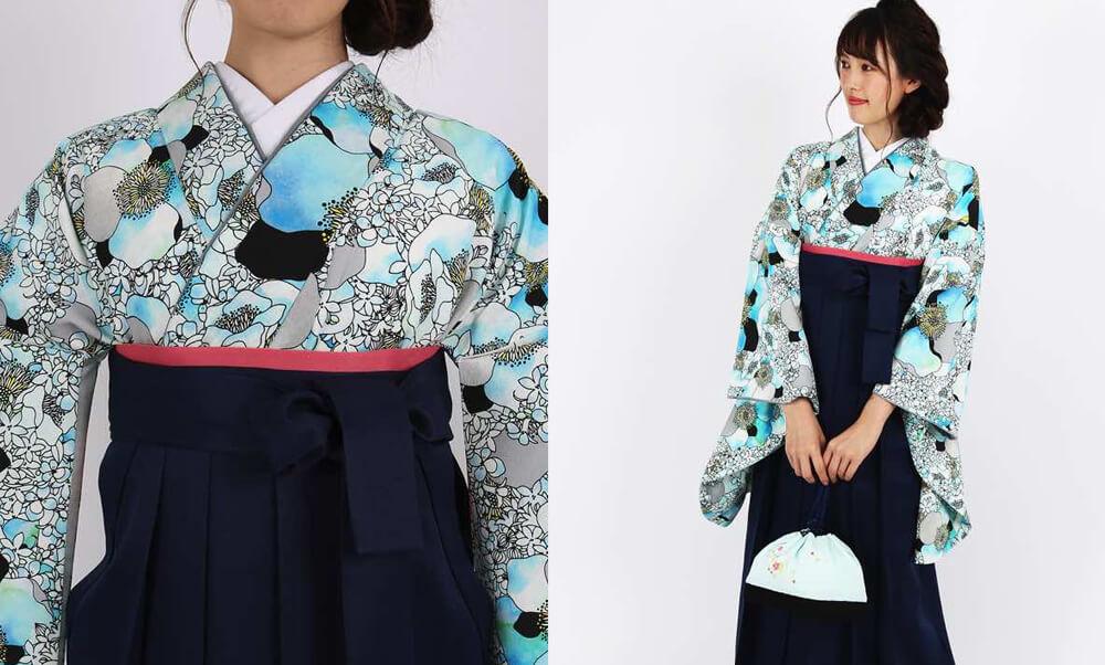 おすすめ卒業式袴レンタル | 【HAO】幸せの香り 青 青に黒のモダンで洋風なデザインと紺色の袴