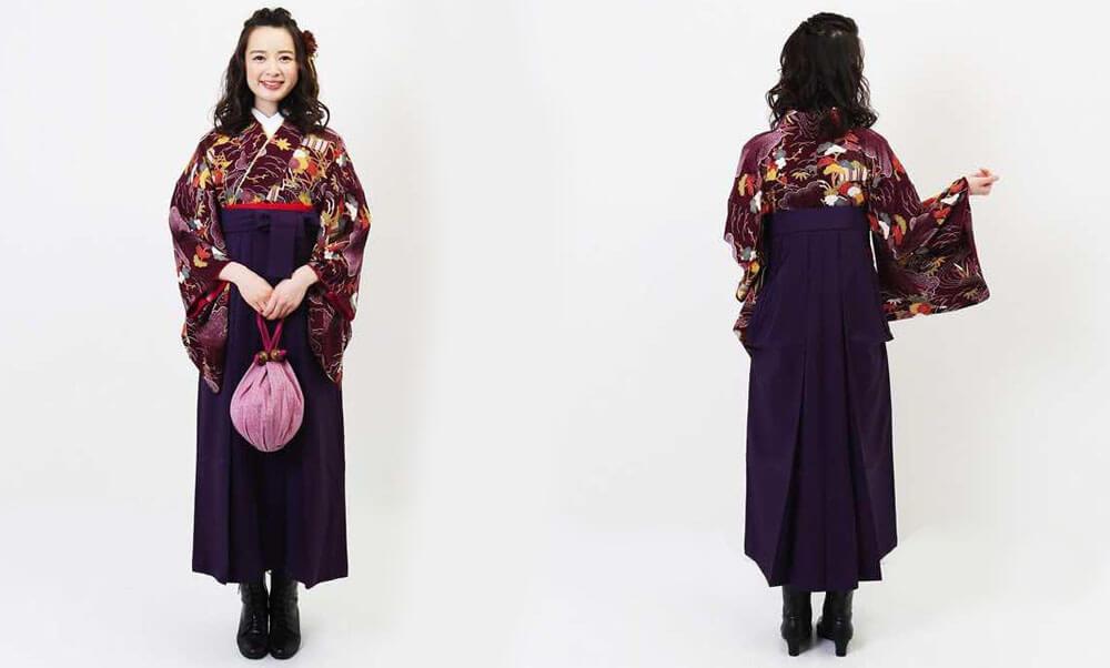 おすすめ卒業式袴(アンティーク) レンタル | 紫紺デモクラシー アンティークの着物に臙脂の袴