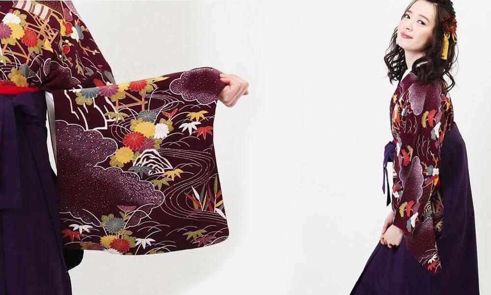 おすすめ卒業式袴(アンティーク) レンタル | 紫紺デモクラシー アンティークの着物に古典柄が風景を描きます