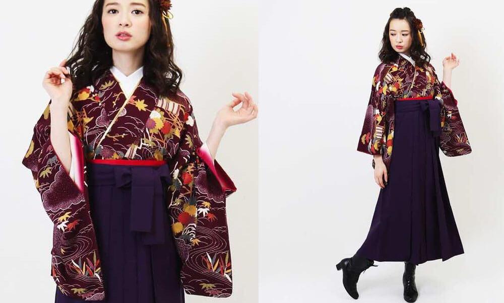 おすすめ卒業式袴(アンティーク) レンタル | 紫紺デモクラシー アンティークの着物に赤い帯が可愛いコーディネートです