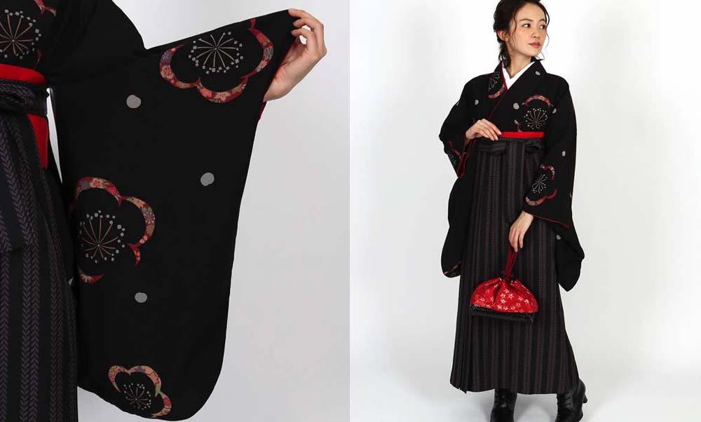 おすすめ卒業式袴レンタル | 黒地に梅と花びら 双葉ストライプ黒袴  リーフのストライプの袴に黒地に梅の着物がお洒落