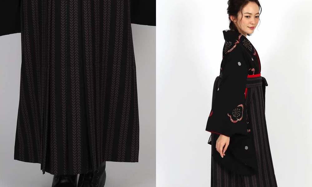 おすすめ卒業式袴レンタル | 黒地に梅と花びら 双葉ストライプ黒袴  リーフ柄がお洒落な卒業式袴です