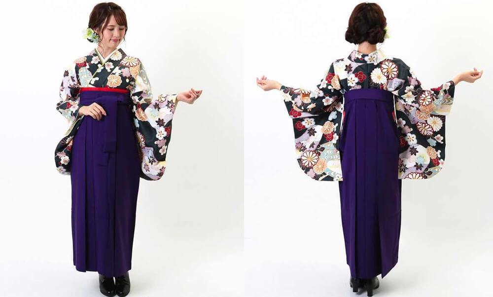 おすすめ卒業式袴レンタル | 深緑地に菊 紫無地袴 大人っぽいオールドグリーンの着物と紫の袴