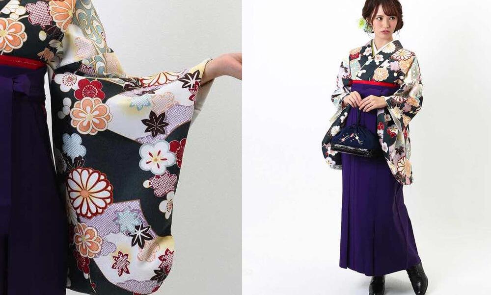 おすすめ卒業式袴レンタル | 深緑地に菊 紫無地袴 大人っぽいオールドグリーンの着物に梅と菊の花