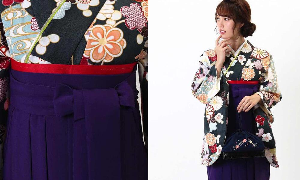 おすすめ卒業式袴レンタル | 深緑地に菊 紫無地袴 大人っぽいオールドグリーンの着物に梅と菊の花 上品な紫の袴で大人っぽいコーディネート