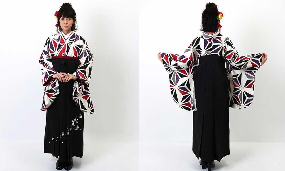 おすすめおすすめ卒業式袴レンタル | 白地に三色の麻の葉文様 刺繍入り黒袴 赤と黒と紫とグレーの麻の葉
