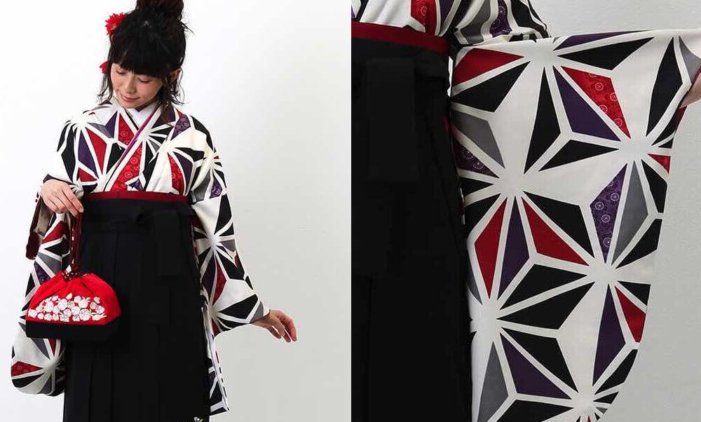 おすすめ卒業式袴レンタル | 白地に三色の麻の葉文様 刺繍入り黒袴 赤と黒と紫とグレーの麻の葉 モダンな雰囲気