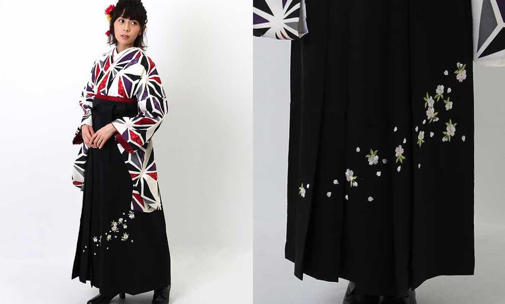おすすめおすすめ卒業式袴レンタル | 白地に三色の麻の葉文様 刺繍入り黒袴 赤と黒と紫とグレーの麻の葉 モダンな雰囲気