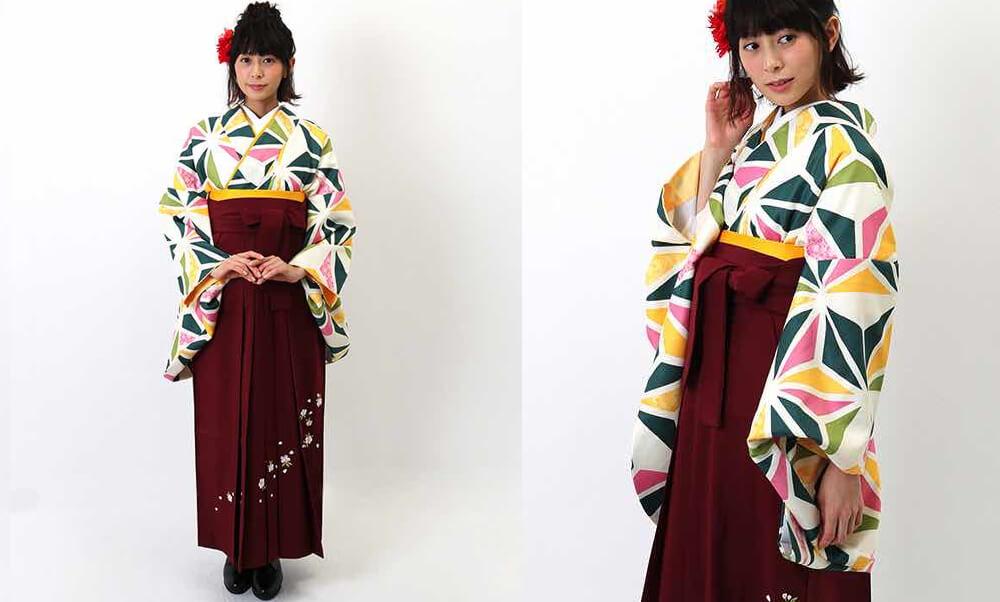 おすすめ卒業式袴レンタル | 白地に三色の麻の葉文様 刺繍入り臙脂袴