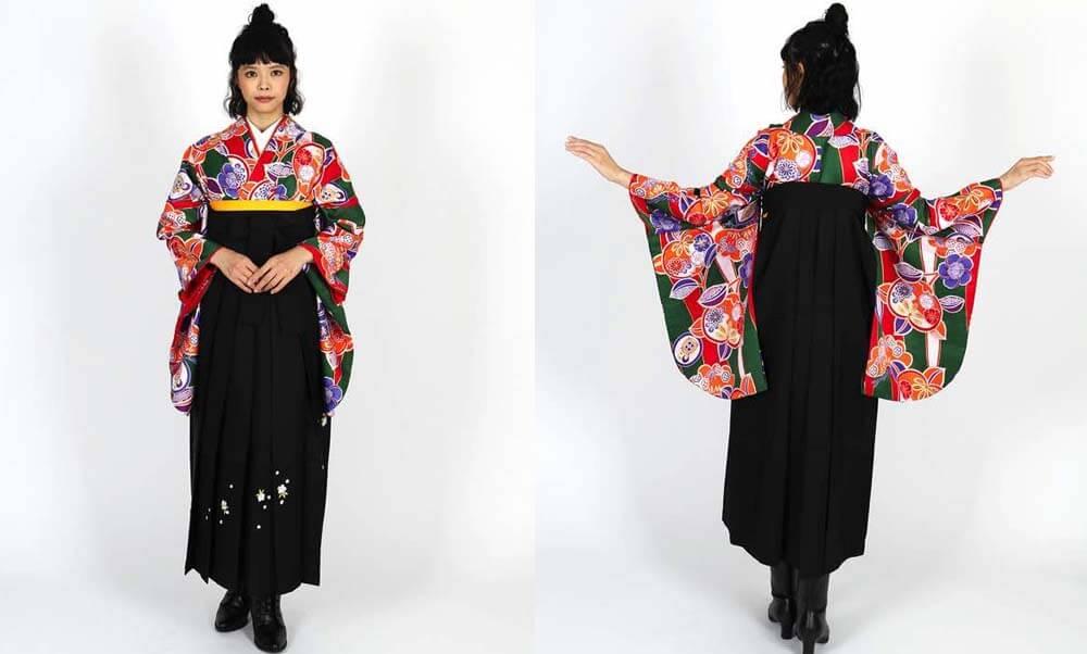 おすすめ卒業式袴レンタル | 赤紫地に菊 薄暈しの紫袴 橘に可愛らしい花々が咲く緑の着物
