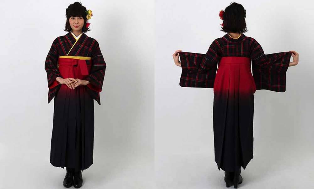 おすすめ卒業式袴(アンティーク)レンタル | 黒地に赤白チェック柄 赤黒暈し袴 クラシックな趣が可愛いアンティークの卒業式袴