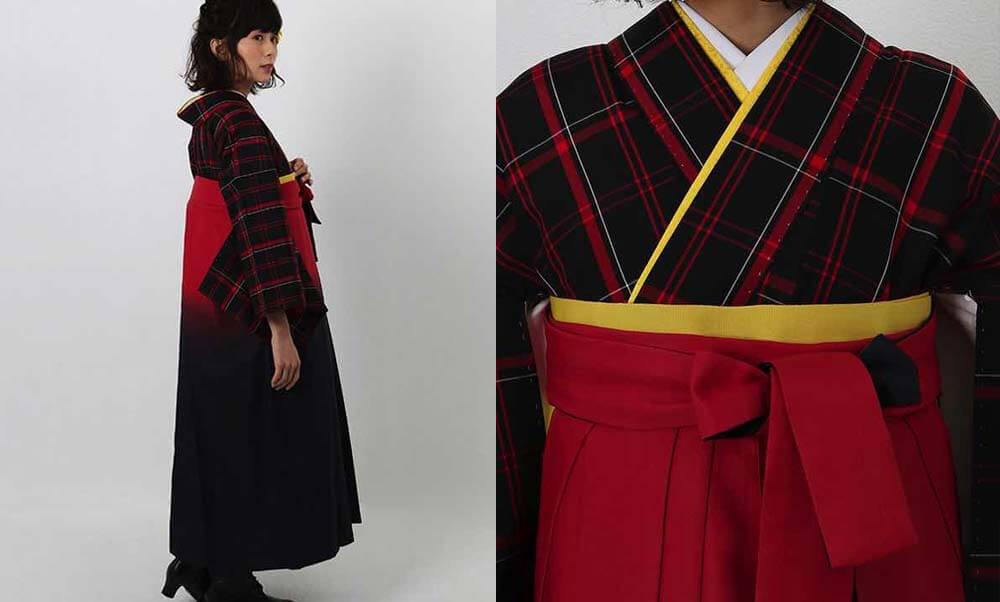 おすすめ卒業式袴(アンティーク)レンタル | 黒地に赤白チェック柄 赤黒暈し袴 レトロなチャック柄の卒業式袴スタイルに黄色い小物