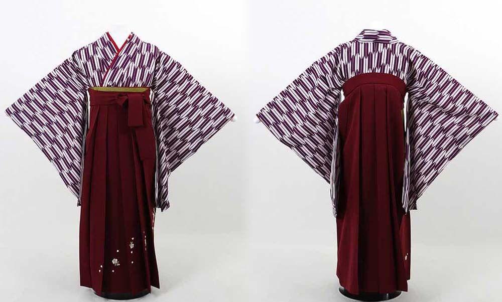 おすすめ卒業式袴(小学生用)レンタル | 紫 小矢絣 刺繍入り臙脂袴 小学生に矢絣のレトロ感が可愛い