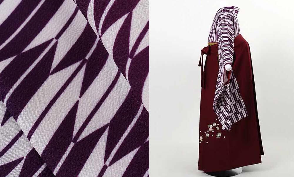 おすすめ卒業式袴(小学生用)レンタル | 紫 小矢絣 刺繍入り臙脂袴 定番の卒業式袴