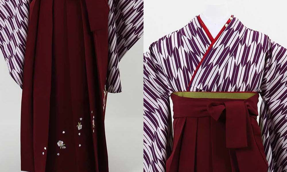 おすすめ卒業式袴(小学生用)レンタル | 紫 小矢絣 刺繍入り臙脂袴 可愛らしくも上品な卒業式袴スタイル
