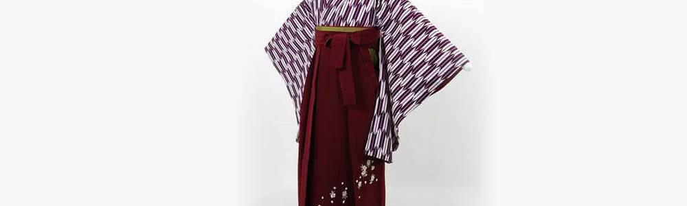おすすめ卒業式袴(小学生用)レンタル | 紫 小矢絣 刺繍入り臙脂袴