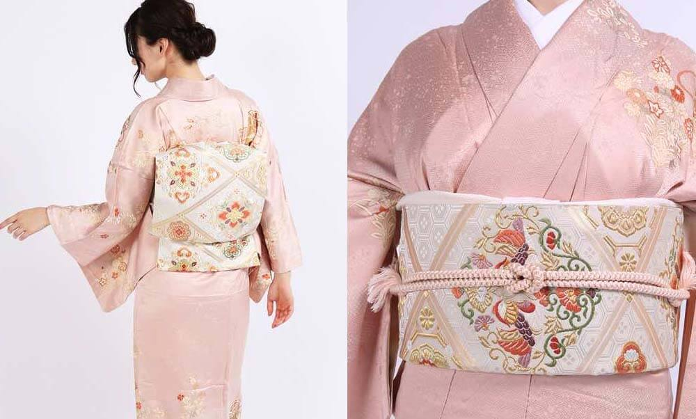 おすすめ訪問着レンタル | ベージュピンク地に秋草と貝桶 優しいピンクの訪問着に鴛鴦の帯は結婚式におすすめの着物です