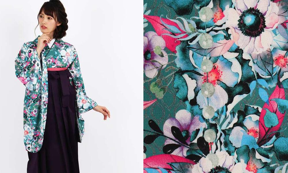 おすすめ卒業式袴レンタル | 【HAO】花とパール 花模様がフェミニンで個性的なデザインの着物