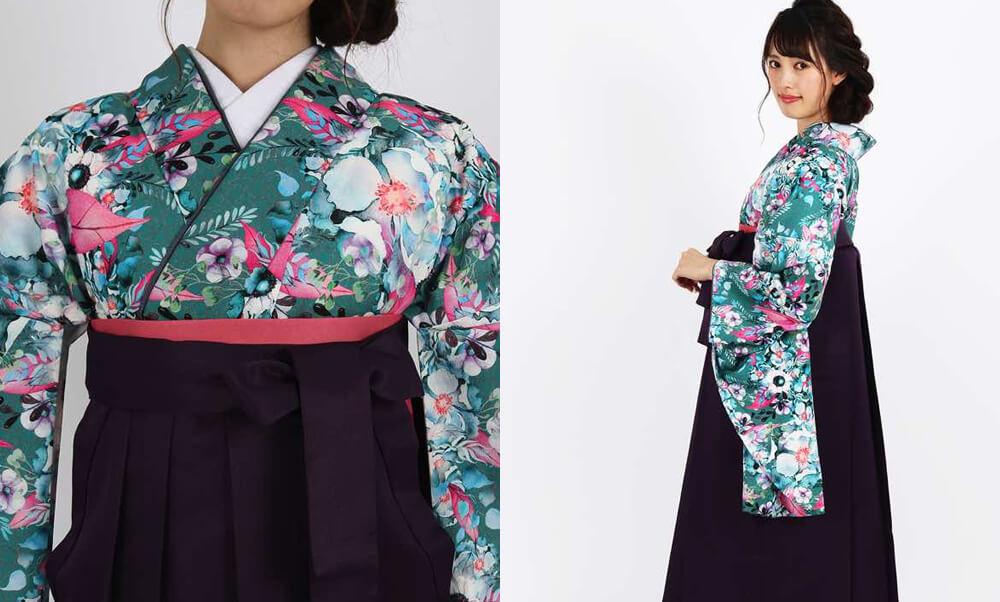 おすすめ卒業式袴レンタル | 【HAO】花とパール 女の子らしいピンクと大人っぽいグリーンの着物と上品な紫の袴