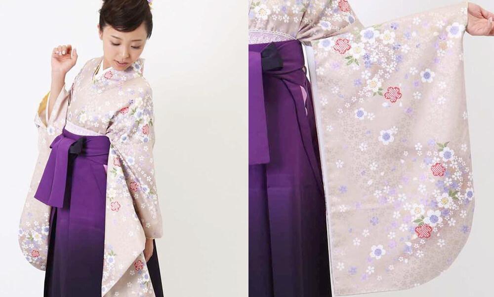 卒業式袴レンタル | 霞藤 四季花舞 グレージュに可愛らしい桜が舞う卒業式袴スタイル