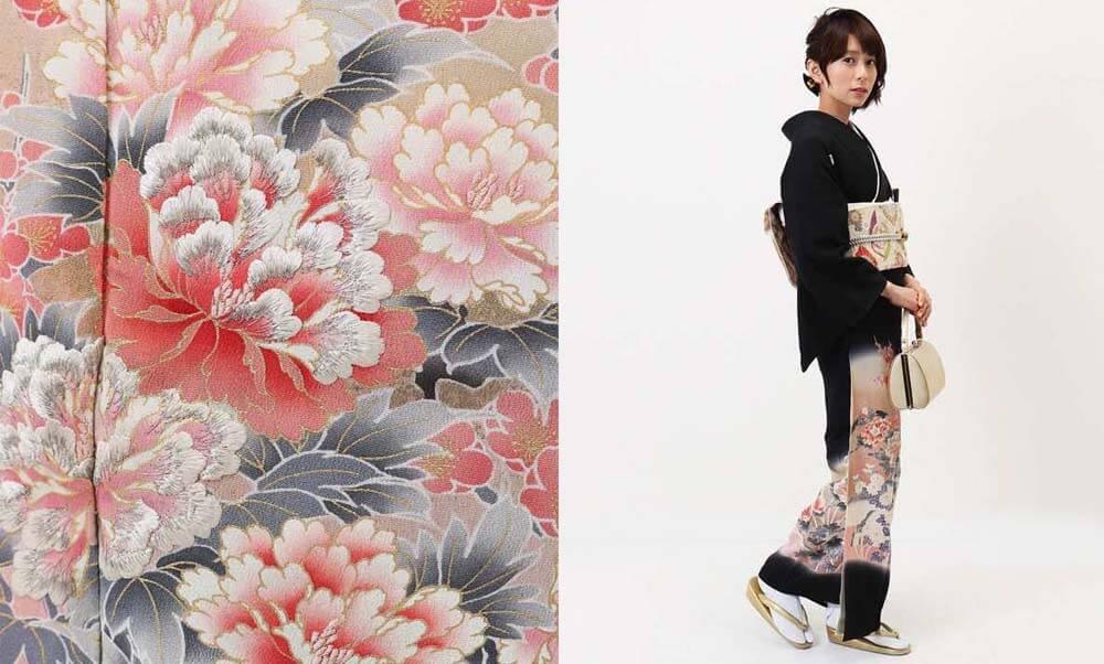 おすすめ黒留袖レンタル | ピンクの牡丹に菊・梅・流水 牡丹と梅と菊の花模様の黒留袖