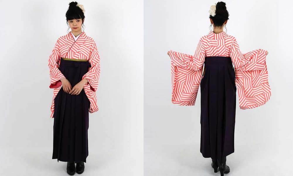 卒業式袴レンタル | 白×ピンク 縞々市松調 濃紫袴 トレンドカラーを取り入れる
