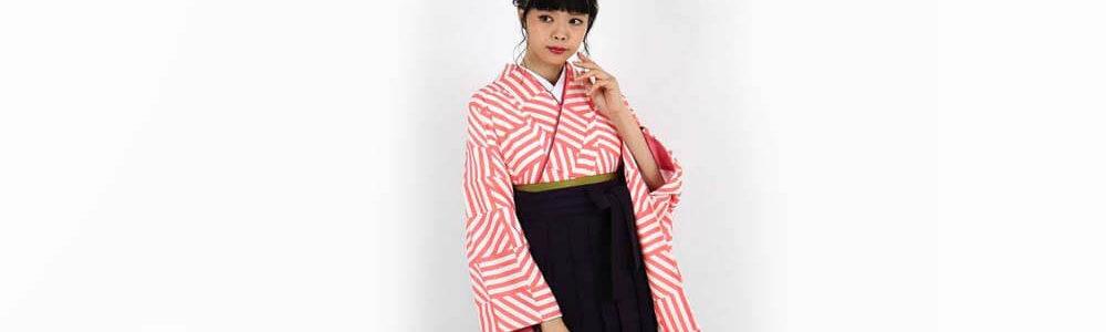 卒業式袴レンタル | 白×ピンク 縞々市松調 濃紫袴