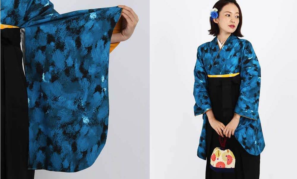 おすすめ卒業式袴レンタル | ランダムB 冷静 海のような青の重なりが大人っぽい卒業式袴スタイル