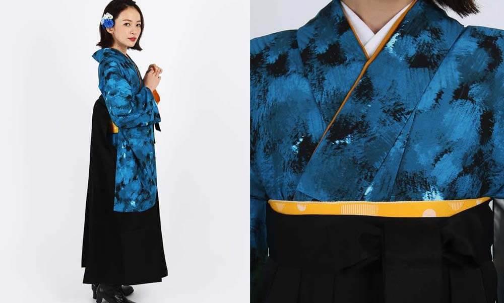 おすすめ卒業式袴レンタル | ランダムB 冷静 海のような青と黒のシンプルな色合わせが大人っぽい卒業式袴スタイル