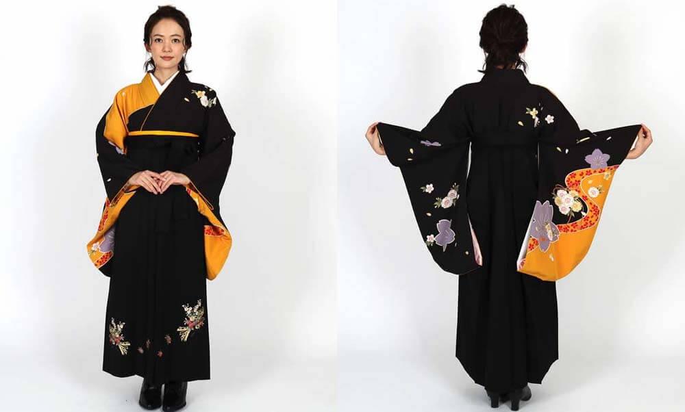 おすすめ卒業式袴レンタル | 黒×黄に桜 花と熨斗の黒袴 黒のカッコイイ卒業式袴スタイル