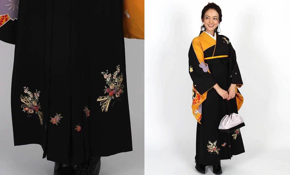 おすすめ卒業式袴レンタル | 黒×黄に桜 花と熨斗の黒袴 黒の袴がかっこよさを際立たせます
