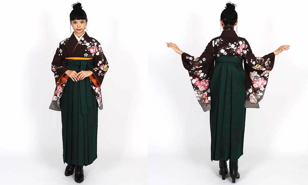 おすすめ卒業式袴レンタル | 焦茶地に桜の花 濃緑袴 大人っぽい色合わせ