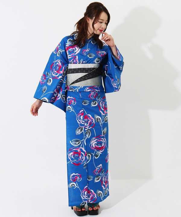 青 地 と は 浴衣レンタル | 青地に椿模様 | hataori(ハタオリ)
