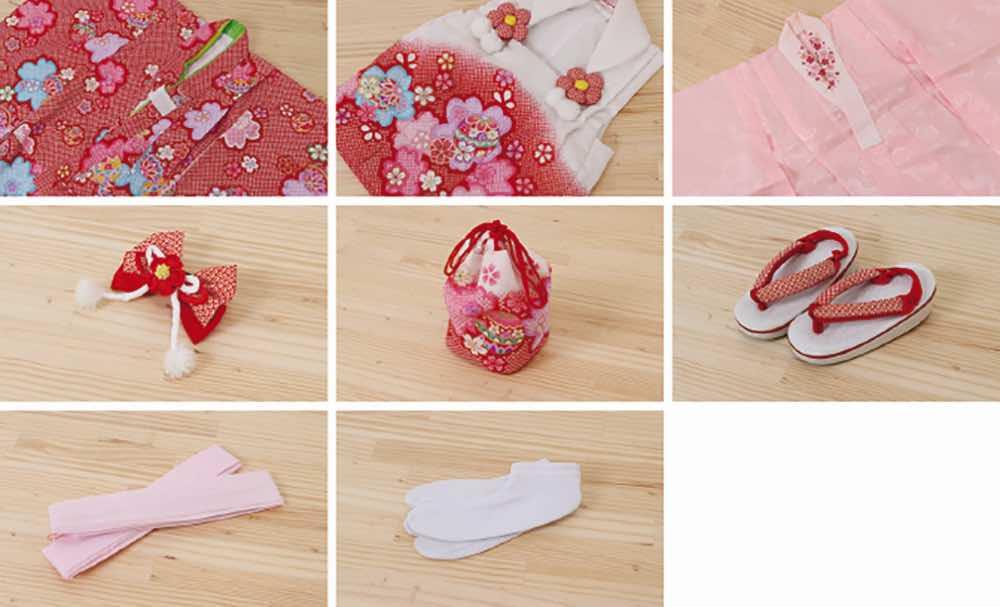 七五三(三歳)レンタル |  正絹 赤地に鞠と八重桜 白被布 のセット内容