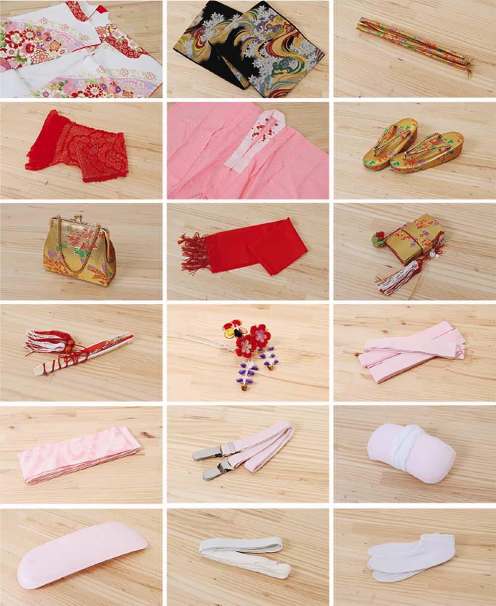 七五三(七歳)レンタル | 正絹 ピンク地に鞠と市松 のセット内容