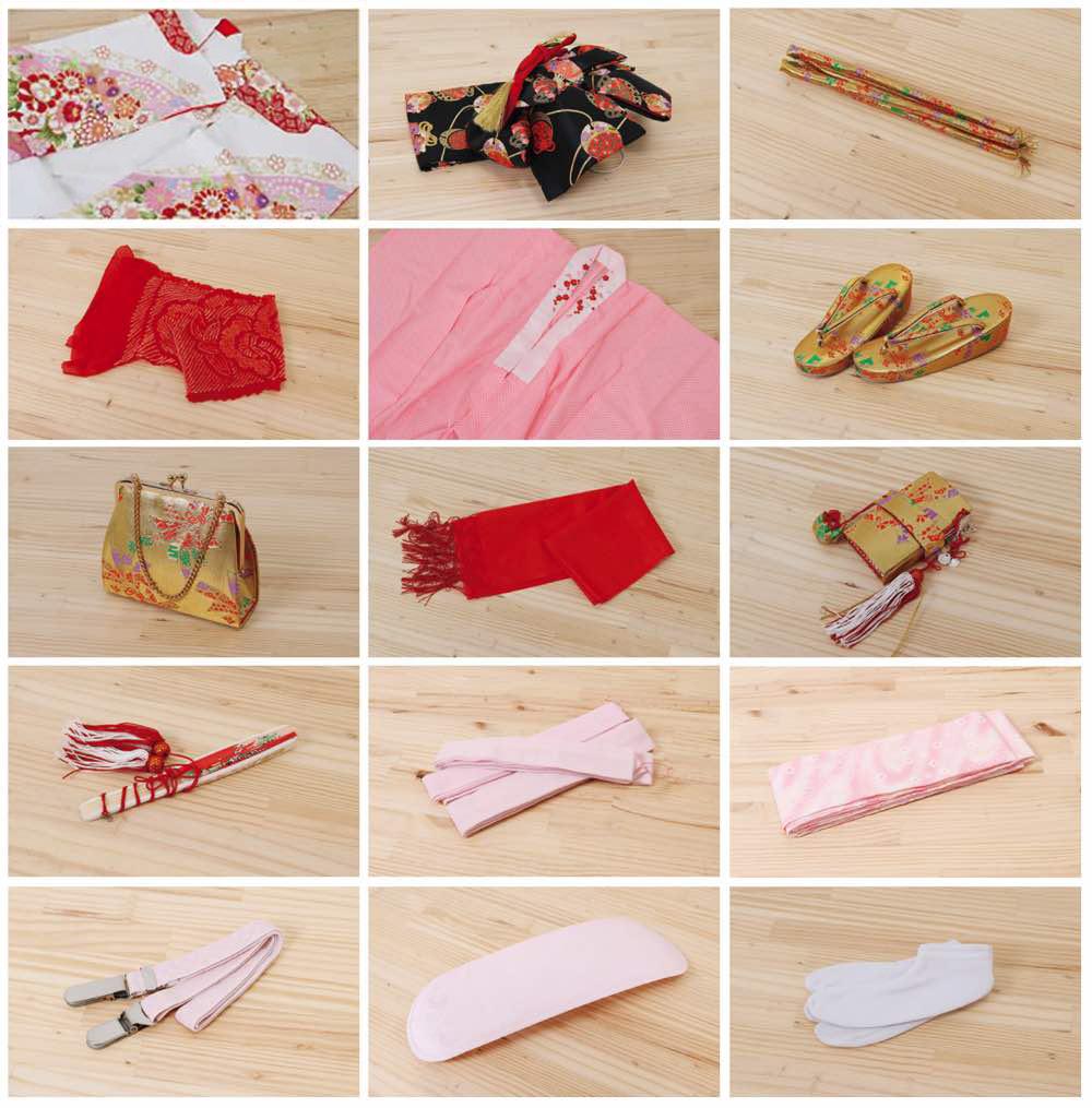七五三(七歳)レンタル | 正絹 パステルイエロー 優美な枝垂れ桜 のセット内容