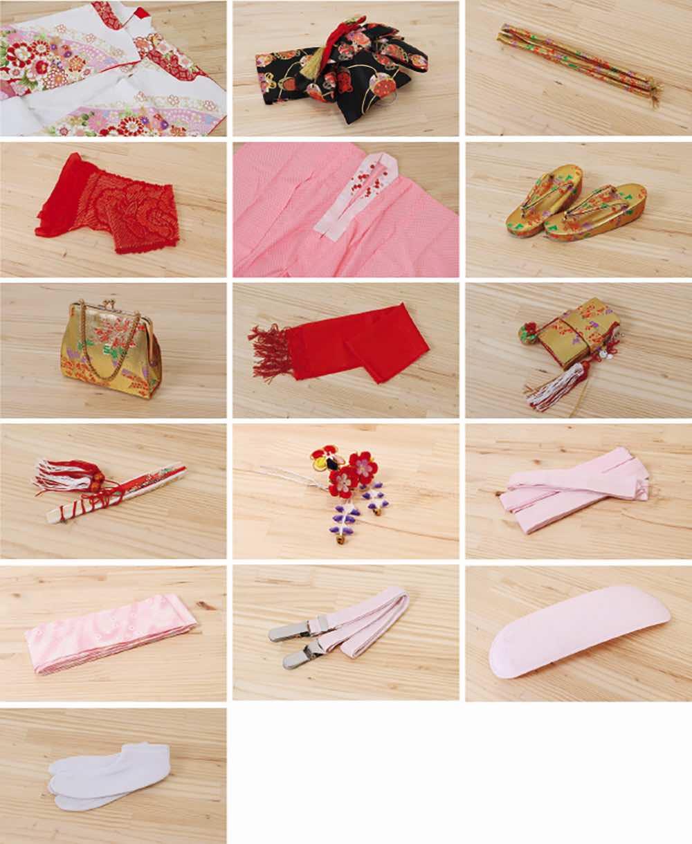 七五三(七歳)レンタル | 「絵羽柄」赤×ピンク地 毬と花々 のセット内容