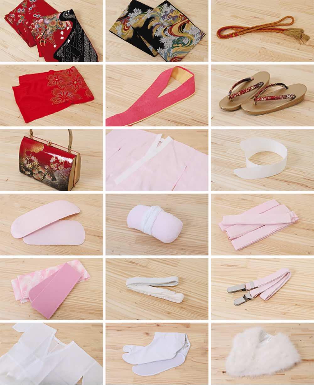 振袖レンタル | 臙脂に藤桜 のセット内容