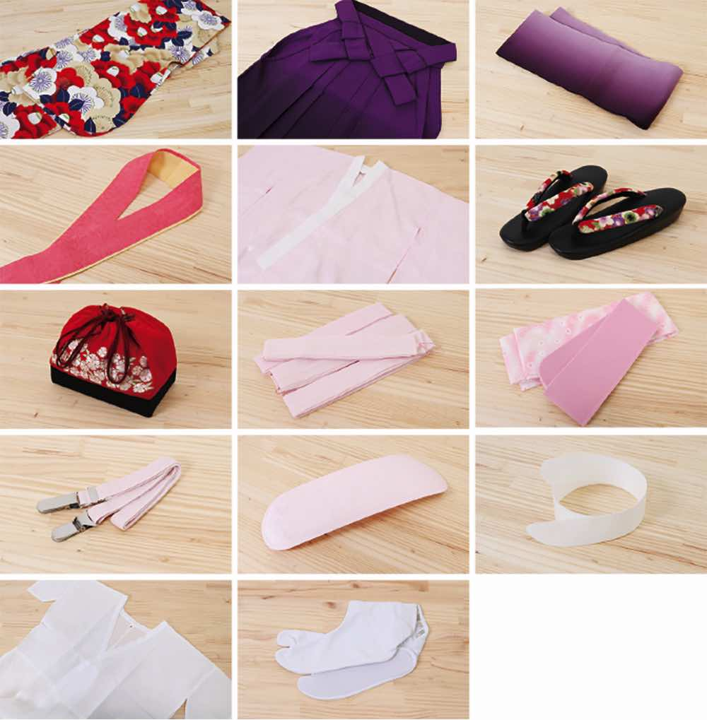 卒業式袴レンタル | 撫子色地に折鶴 緑無地袴 のセット内容