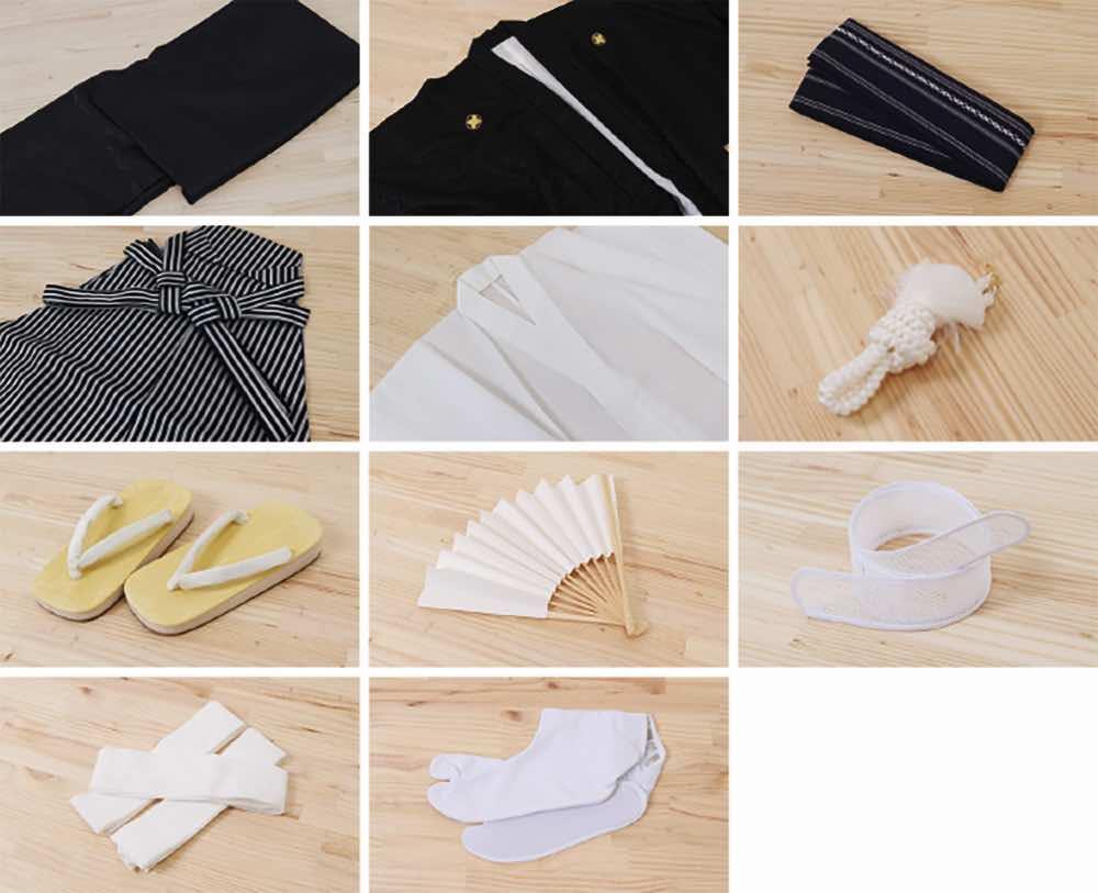 男性用 羽織袴レンタル | 黒の麻の葉羽織にグレー着物 のセット内容