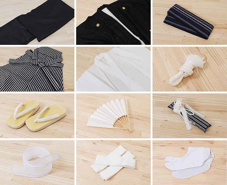 卒業式袴(小学男児用)レンタル | ベージュ地着物に水色羽織 黒袴 のセット内容