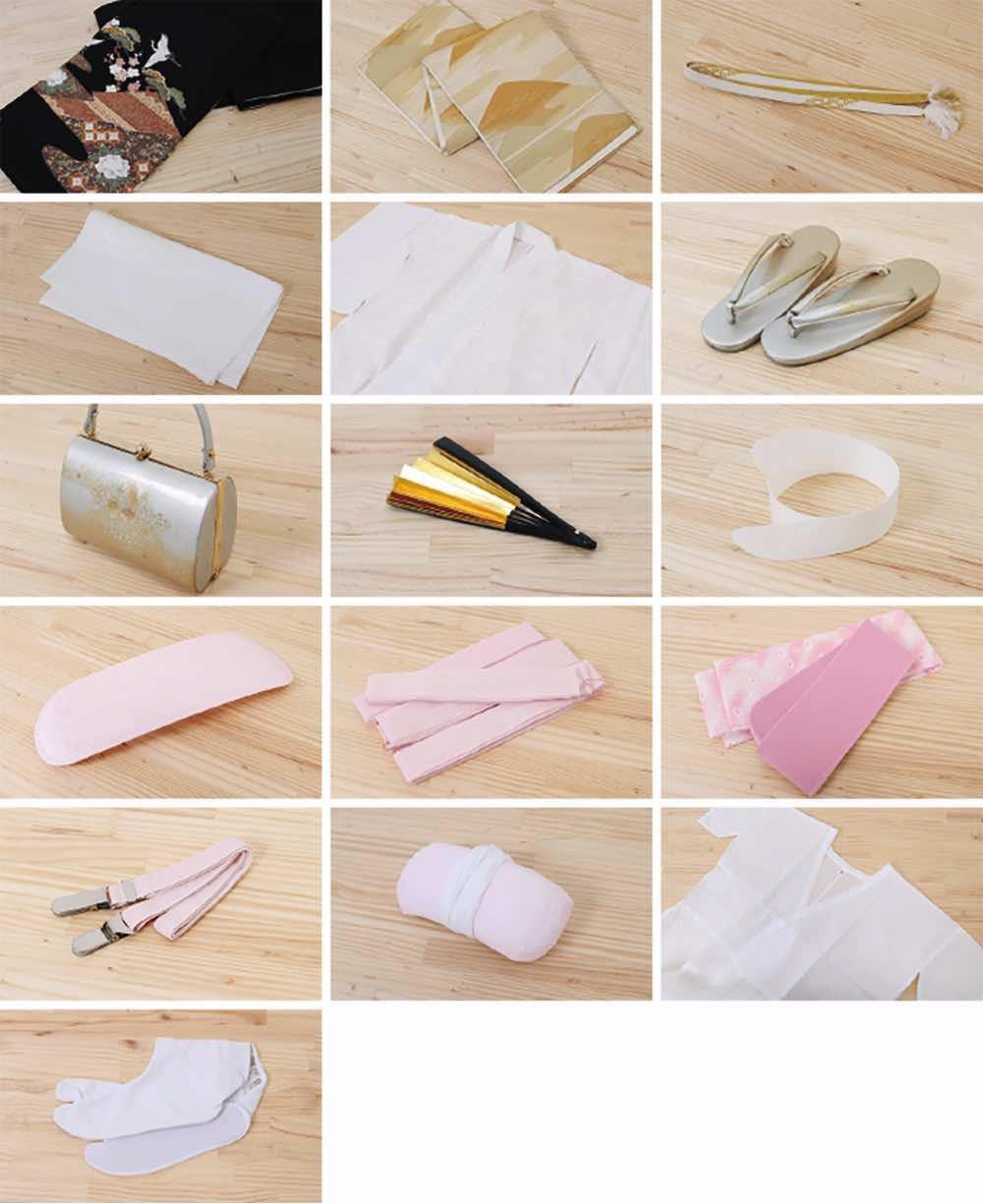 色留袖レンタル | ピンク地雲取り (三紋) のセット内容