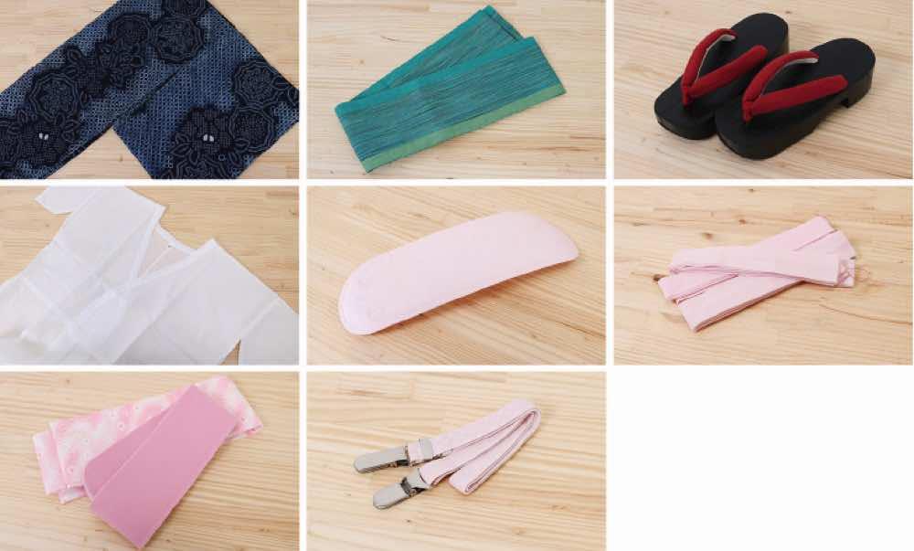 浴衣レンタル | カラシ色地に薔薇模様 黒地に二色の麻の葉模様の帯 のセット内容